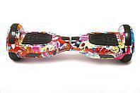 Гироборд 6,5 SmartWay  с Bluetooth и колонками Flowers Graffiti с пультом, фото 1