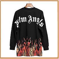 Мужская молодежная кофта, лонгслив Palm Angels Fire без капюшона, черная