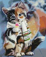 НикиТошка Набор алмазная мозаика Котёнок в шарфике GJ3989 40х50 см