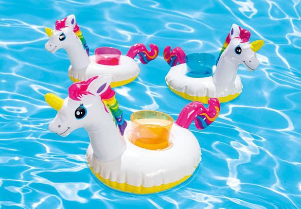 Надувний плаваючий тримач Єдиноріг Intex 57506 підставка для напоїв 3 шт в комплекті, фото 2