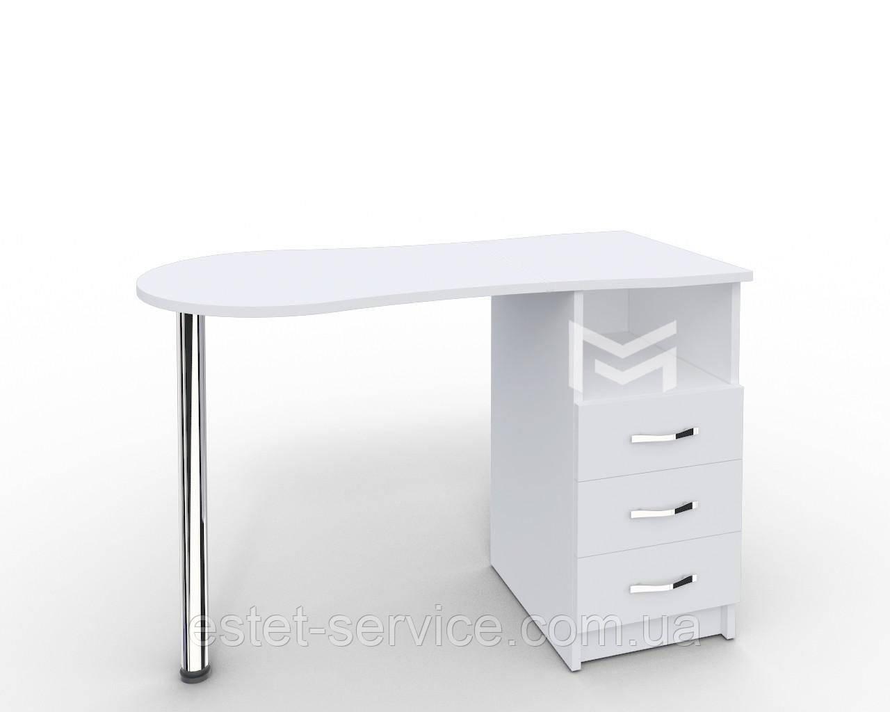 Элегантный маникюрный стол, стационарный. Модель Естет белый c выдвижными ящиками М100