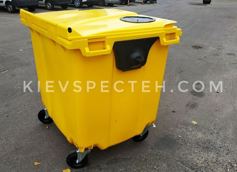 Евроконтейнер пластиковый 1100 л.,для ПЕТ (пластика), раздельный сбор мусора.