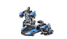 Машинка трансформер Бугати с пультом ручное еправнение БОЛЬШАЯ Цвет синый
