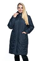 Женский, весенний, большого размера плащ - полу пальто р- 54, 56, 58, 60, 62,64,66,68,70 Новинка, с капюшоном