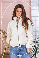 Шуба-курточка, женская короткая из эко меха барашек на змейке.