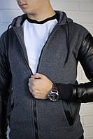 Мужская серая толстовка с кожаными рукавами, фото 1