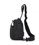 Тактическая военная туристическая мужская сумка рюкзак на 20 литров чёрная и олива, фото 4