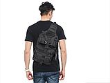 Тактическая военная туристическая мужская сумка рюкзак на 20 литров чёрная и олива, фото 5