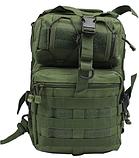 Тактическая военная туристическая мужская сумка рюкзак на 20 литров чёрная и олива, фото 6
