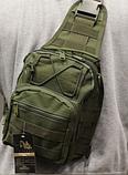 Тактическая военная туристическая мужская сумка рюкзак на 20 литров чёрная и олива, фото 7
