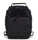 Тактическая военная туристическая мужская сумка рюкзак на 20 литров чёрная и олива, фото 8