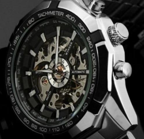 Механічні чоловічі годинник Winner срібло якість понад усе