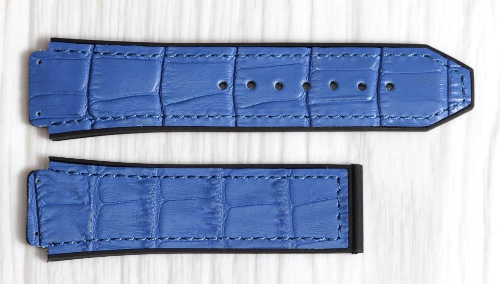Ремешок для часов Hublot из натуральной кожи. Синий с принтом, 26 мм