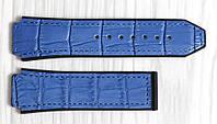 Ремешок для часов Hublot из натуральной кожи. Синий с принтом, 26 мм, фото 1