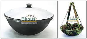 Чугунный наманганский (узбекский) казан 8л с алюминиевой крышкой (d-32см,стенка 5мм) и чехлом, отшлифованный