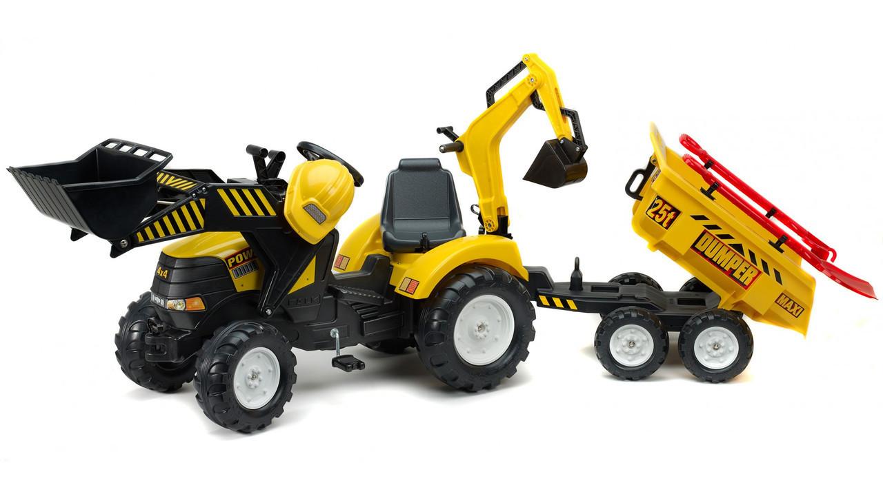 Детский педальный трактор с прицепом и ковшом Falk 1000WH Power Loader для детей