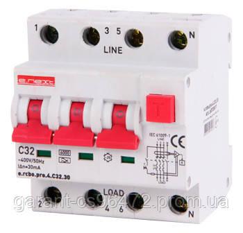 Выключатель дифференциального тока с функцией защиты от сверхтоков e.rcbo.pro.4.С32.30