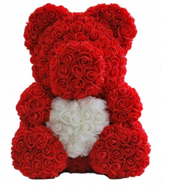 М'яка іграшка Teddy Flowers Bear Ведмедик з троянд c серцем червоний і білий 40 см