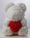 М'яка іграшка Teddy Flowers Bear Ведмедик з троянд c серцем червоний і білий 40 см, фото 2