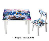 """Комплект стол и стул детский """"Смурфы"""""""
