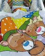 """Яркий комплект постельного белья """"Принт"""" с балдахином. Мишки под зонтиком"""