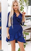 Платье женское летнее легкое красивое повседневного стиля шелк-армани 42-46 р.,цвет синий