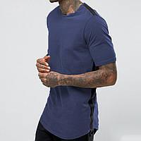 Синяя мужская футболка лонг, фото 1