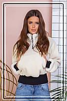 Шуба-курточка, женская короткая из эко меха барашек на резинке.