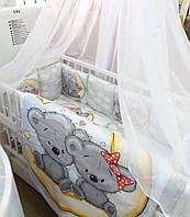 """Яркий комплект постельного белья """"Принт"""" с балдахином. Мишки на луне"""
