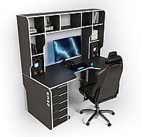 "Стол компьютерный 180х85х76 см. ""Viking-4M"" Геймерский, черный/белый, фото 1"