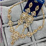 Комплект сережки і кольє під срібло з камінням, висота 10 см., фото 2