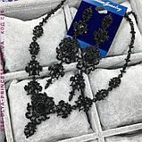 Комплект серьги и колье под серебро с камнями, высота 10 см., фото 10