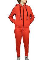 Костюм женский стильный,трикотажный молодежный,кофта на молнии,полоса,красный  S-XL