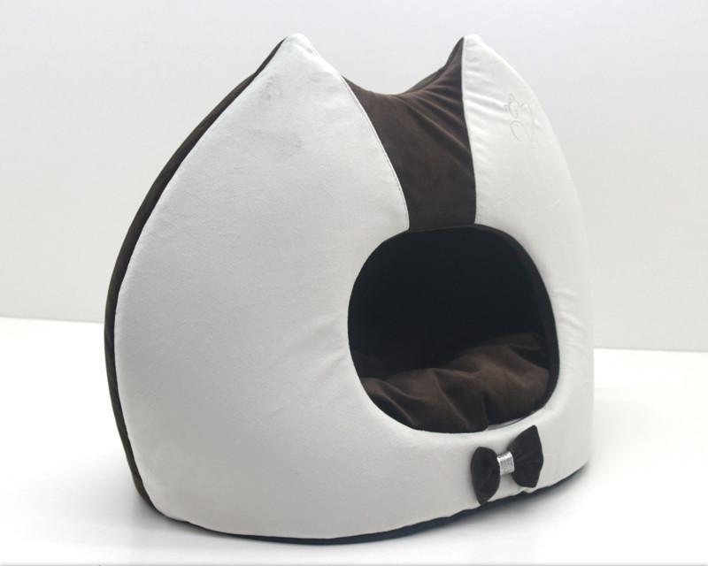 Будка для котов и собак Мистик-котик №2 36х46х46 см коричневая