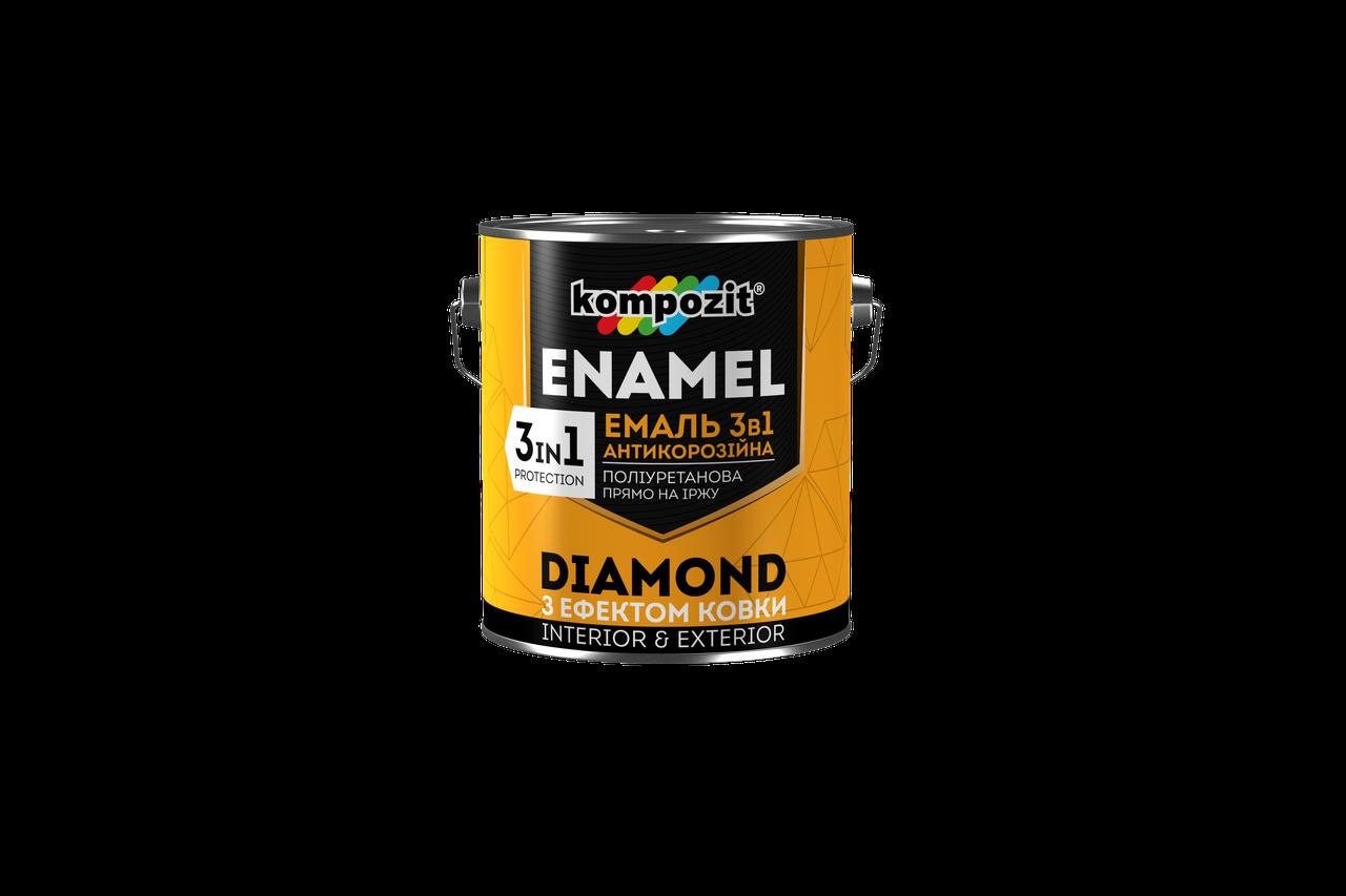 Эмаль антикоррозионная 3 в 1 Kompozit DIAMOND з декоративным эффектом ковки (0.65 л) серебристая