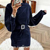 Вельветовое женское темно-синее платье