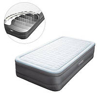 Велюровая одноместная кровать надувная Intex 64482 встроенный насос