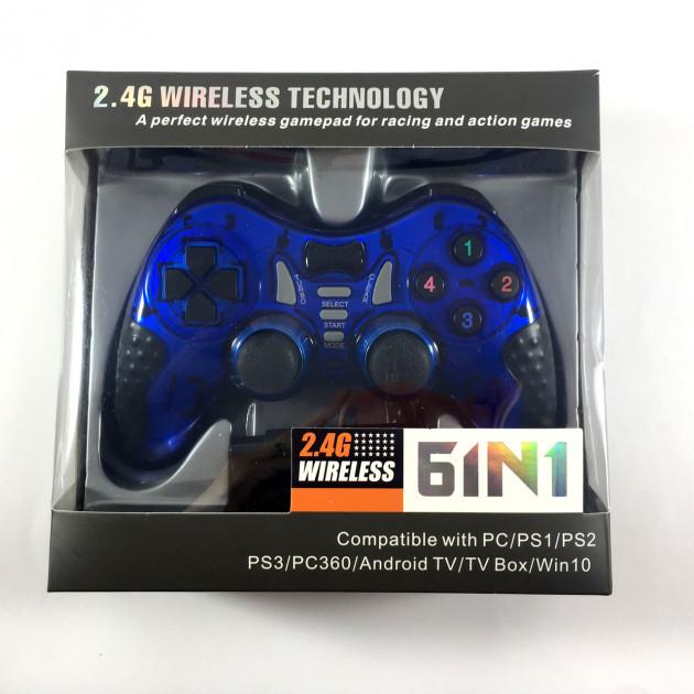 Беспроводной джойстик Game World 6 в 1 GTM для ПК/PS2/PS3/PC360/ANDROID TV/WIN10 Синий