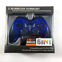Беспроводной джойстик Game World 6 в 1 GTM для ПК/PS2/PS3/PC360/ANDROID TV/WIN10 Синий, фото 1