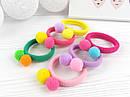 Детские резинки для волос с помпонами Ø4 см цветные 30 шт/уп., фото 2