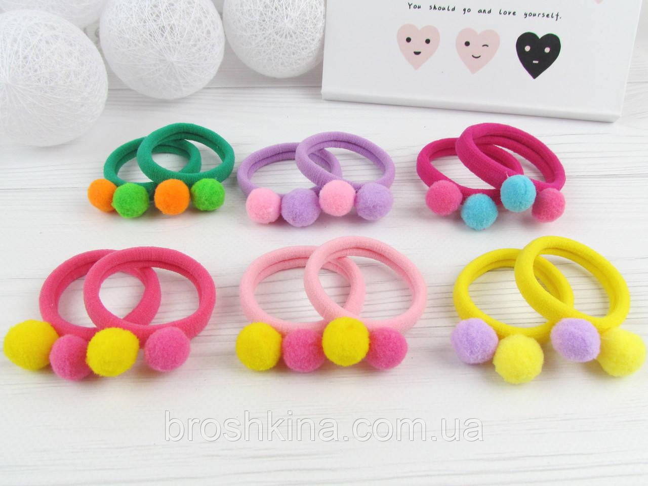 Детские резинки для волос с помпонами Ø4 см цветные 30 шт/уп.