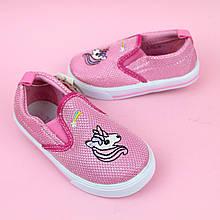 Розовые детские слипоны для девочки Единорог Tom.m размер 21,22,23