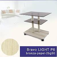 Стол журнальный стеклянный прямоугольный Commus Bravo Light P6 bronza-pepel-2bg50