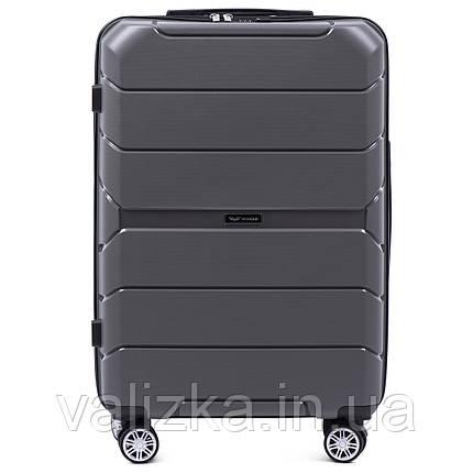 Средний чемодан серого цвета из полипропилена премиум серии на 4-х двойных колесах с ТСА замком, фото 2