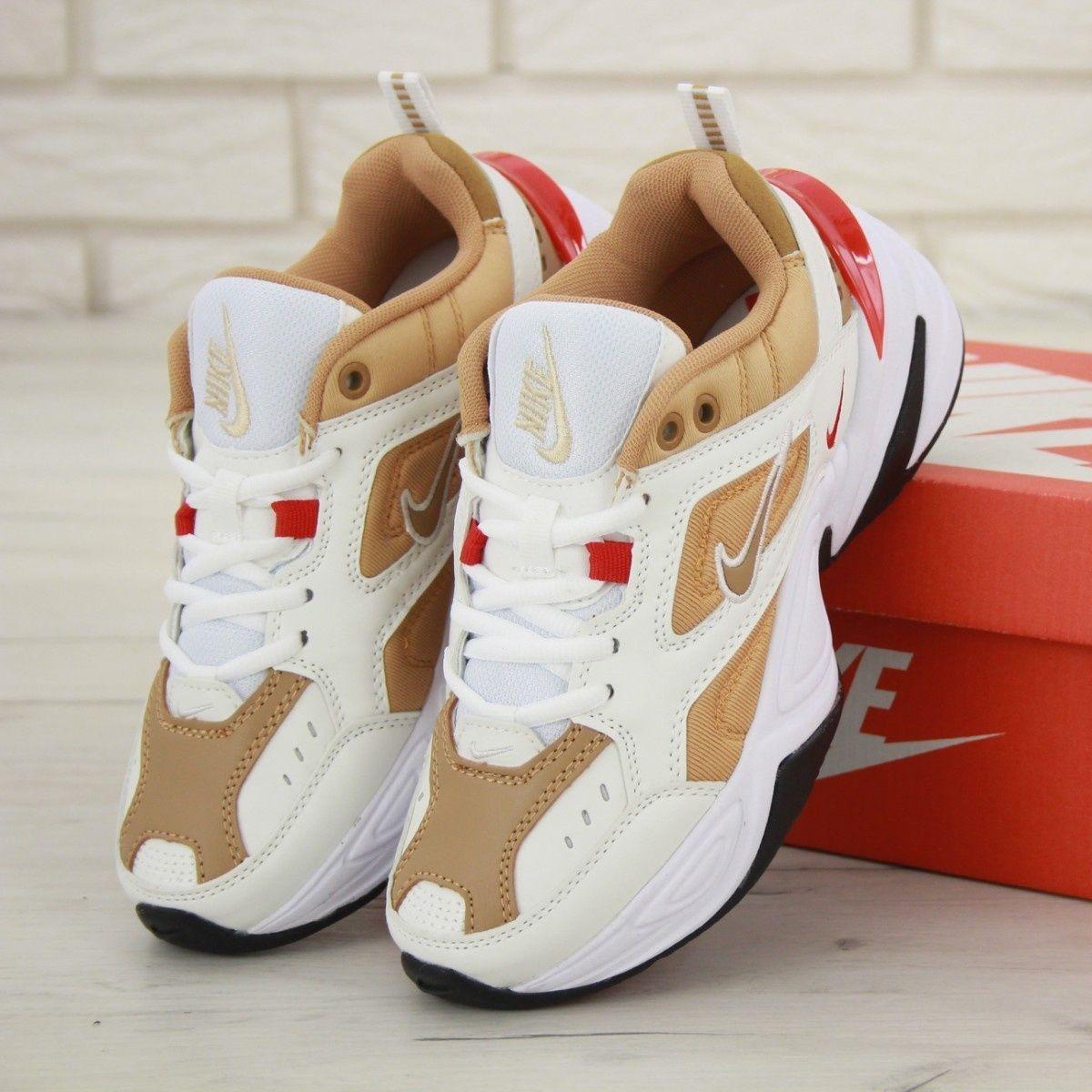 Женские кроссовки в стиле Nike M2k Tekno White/Gold