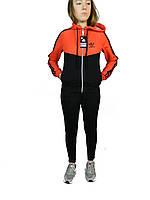 Костюм женский стильный,адидас,трикотажный молодежный,кофта на молнии,полоса, черный  с красным  верхом S-XL
