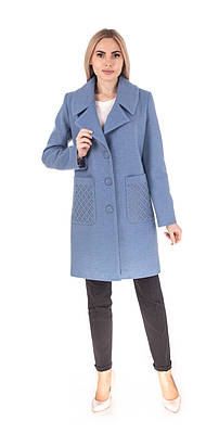 Женское демисезонное пальто  42-48 голубой