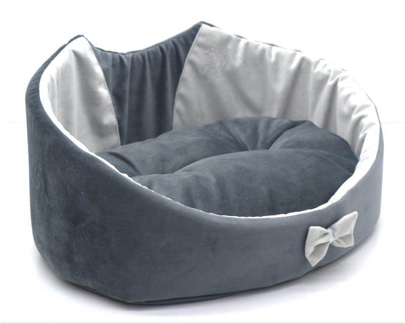 Лежак для собак и котов Мистик-котик серый