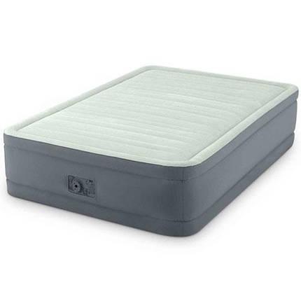 Надувная велюр-кровать Intex 64904 137 х 191 х 46 встроенный насос серый, фото 2