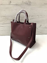 Вместительная сумка пакет украшена звездочкой спереди Бордовый